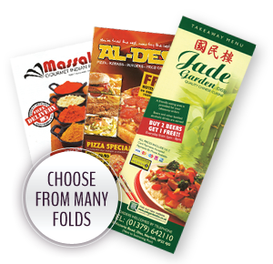 Choose from Many Folds - A3 Takeaway Menus