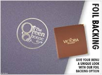Foil Backing - Give your menu a unique look with our foil backing options