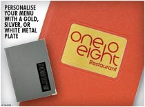 Metal Plate - Personalise your menu with a gold, silver, or white metal plate