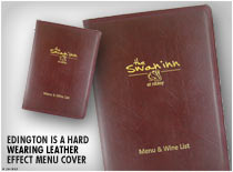 Edington is a hard wearing leather effect menu cover