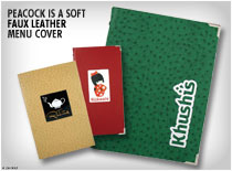 Peacock is a soft faux leather menu cover