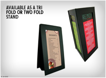 Easy to Clean Menus with available in a variety of sizes colours