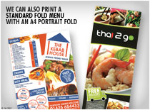 We can also print a standard fold menu with an A4 portrait fold