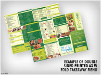 Example of Double sided printed A3 W fold takeaway menu