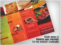 Every Menu is printed and finished to the highest standard