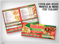 Cover and inside printed A4 Menu for Italiano