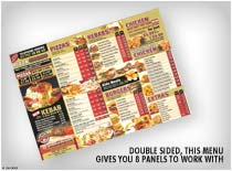 Double sided, this menu gives you 8 panels to work with