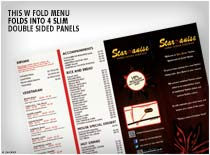This W Fold Menu folds into 4 slim double sided panels