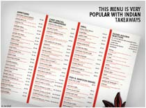 This Menu is very popular with indian takeaways