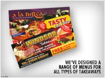 We have designed a range of menus for all types of takeaways