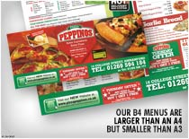 Our B4 Menus Are larger than an A4 But Smaller than A3