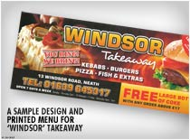 A sample Design and pritned menu for windsor Takeaway